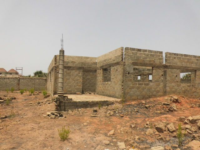 Incomplete 3 Bedroom bungalow with boys quarters at old yundum